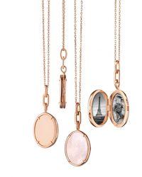 Monica Rich Kosann Pink Mother Of Pearl Slice Locket Necklace