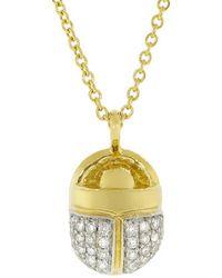 Pamela Love Pave Diamond Scarab Necklace - Metallic