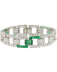 Fred Leighton Art Deco Diamond And Emerald Heyman Bracelet - Multicolour