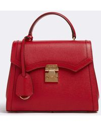 Mark Cross Madeline Mini Lady Leather Top Handle Bag - Red