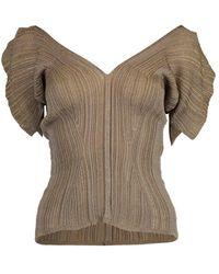Chloé Bronze Short Sleeve V-neck Top - Multicolor