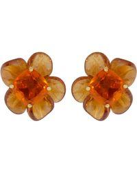 Irene Neuwirth Fire Opal Mandarin Garnet Carved Flower Earrings - Orange