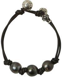 John Varvatos Tahitian Pearl Doubel Leather Bracelet - Metallic