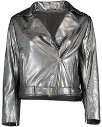 Nour Hammour Daphne Cropped Metallic Jacket - Gray