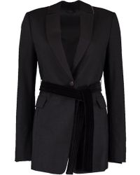 Brunello Cucinelli - One Button Velvet Belted Blazer - Lyst