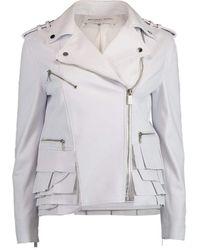 Michael Kors Peplum Ruffle Moto Jacket - White