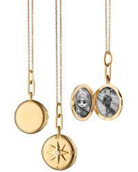 Monica Rich Kosann Round Travel Compass Diamond Locket Necklace - Metallic