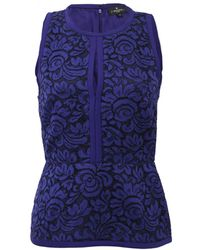 J. Mendel Halter Top With Lace Embroidery - Purple
