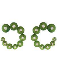 Fernando Jorge Surrounding Small Circle Jade Earrings - Green