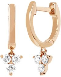 EF Collection - Diamond Trio Drop Huggie Earrings - Lyst