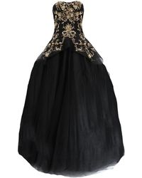 Marchesa Gold Embroidered Tulle Gown - Black