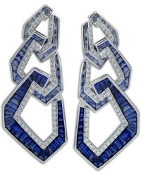 Kavant & Sharart Blue Sapphire Origami Link No.5 Triple Link Earrings