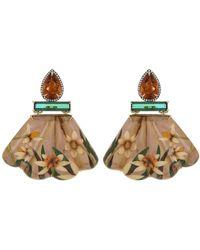 Silvia Furmanovich Citrine, Green Tourmaline Marquetry Earrings