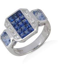 Kavant & Sharart Blue Sapphire And Diamond Geoart Signet Ring
