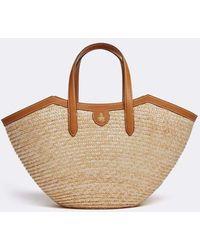Mark Cross Madeline Straw & Leather Basket Bag - Luggage - Multicolor