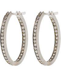 Sylva & Cie Diamond Oval Hoop Earrings - Metallic