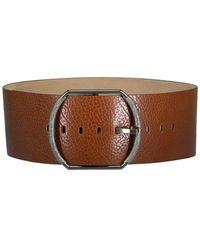 Brunello Cucinelli Wide Leather Buckle Belt - Brown