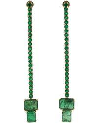 Sylva & Cie - Brazilian And Zambian Emerald Strand Earrings - Lyst