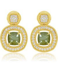 Sutra Diamond Button Drop Earrings - Metallic