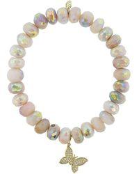 Sydney Evan Butterfly Charm Pink Opal Bracelet - Multicolour