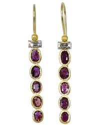 Boaz Kashi - Pink Tourmaline And Diamond Drop Earrings - Lyst