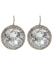 Andrea Fohrman - 15mm Rock Crystal And Sapphire Earrings - Lyst