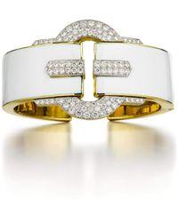 David Webb White Enamel And Diamond Buckle Cuff - Metallic