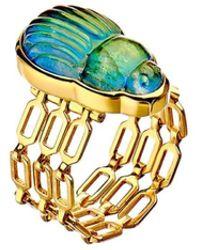 Lito Sienna Labradorite Scarab Diamond Ring - Metallic