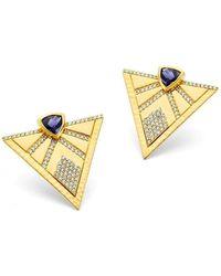 Buddha Mama Triangle Iolite And Diamond Studs - Metallic