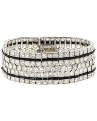 Fred Leighton Art Deco Diamond And Onyx Honeycomb Bracelet - Metallic