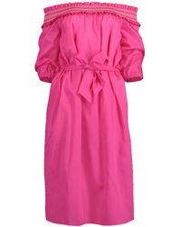 Blumarine Off Shoulder Belted Dress - Pink
