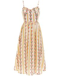 Agua by Agua Bendita Acacia Carmina Linen Midi Dress - Multicolor