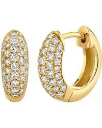 Sydney Evan Puffy Pave Diamond Huggies - Multicolour