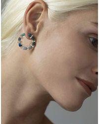 Katherine Jetter Opal And Diamond Baguette Crescent Hoop Earring - Multicolor