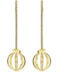 Katherine Jetter Small Diamond Pave Cage Drop Earrings - Metallic