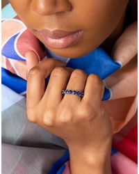 Bayco Round Blue Sapphire Eternity Ring - Metallic