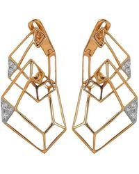 Kavant & Sharart Origami Skeleton Diamond Earrings - Metallic