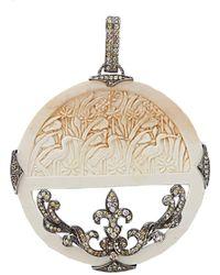 Bochic Carved Mammoth And Diamond Pendant - Multicolour