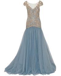 Marchesa Drop Waist Embroidered Ball Gown - Blue