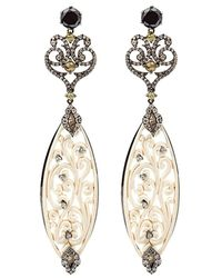 Bochic Carved Mammoth Drop Earrings With Diamonds - Multicolour