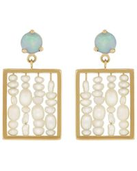 Wwake Small Seed Pearl Weaving Earrings - Multicolour