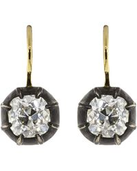 Fred Leighton - Antique Cushion Diamond Collet Drop Earrings - Lyst