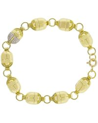 Pamela Love Pave Diamond Scarab Link Bracelet - Metallic