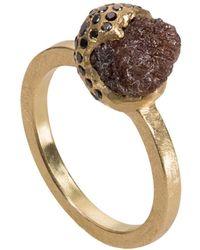 Todd Reed Raw Diamond And Black Diamond Ring - Metallic