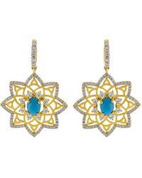 Buddha Mama Sleeping Beauty Turquoise Star Earrings - Metallic