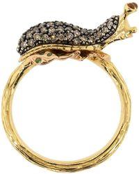 Bibi Van Der Velden Stackable Slug Diamond Ring - Metallic