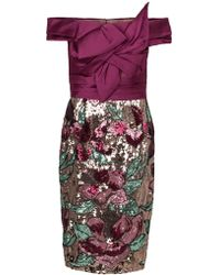 Marchesa notte - Artwork Sequin Coctail Dress - Lyst
