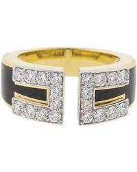 David Webb Black Enamel And Diamond Gap Ring - Metallic