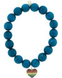 Sydney Evan - Pave Rainbow Heart Charm Bracelet - Lyst