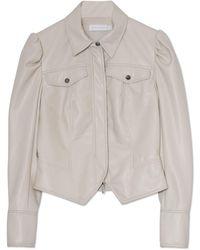 Jonathan Simkhai Wyatt Vegan Leather Zip Jacket - White